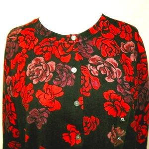 Womens Jersey Cardigan Red/Black Print Size XL